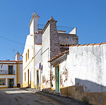 Traditional houses with very large chimney pots in village of Pavia, Alentejo, Portugal, Southern Europe