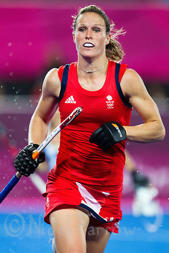 08 AUG 2012 - LONDON, GBR - Crista Cullen (GBR) of Great Britain watches play during the London 2012 Olympic Games women's semi final match against Argentina at the Riverbank Arena in the Olympic Park, Stratford, London, Great Britain .(PHOTO (C) 2012 NIGEL FARROW)