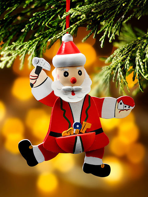 Traditional Christmas tree santa decoration
