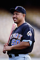 Benny Agbayani of the New York Mets during a game against the Los Angeles Dodgers at Dodger Stadium circa 1999 in Los Angeles, California. (Larry Goren/Four Seam Images)