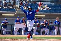 Rancho Cucamonga Quakes Cristian Santana (5) in action against the Lake Elsinore Storm at LoanMart Field on April 22, 2018 in Rancho Cucamonga, California. The Storm defeated the Quakes 8-6.  (Donn Parris/Four Seam Images)