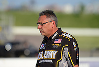 May 18, 2012; Topeka, KS, USA: NHRA crew chief Mike Green for top fuel dragster driver Tony Schumacher during qualifying for the Summer Nationals at Heartland Park Topeka. Mandatory Credit: Mark J. Rebilas-