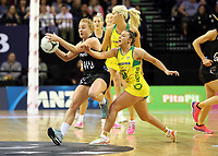 18.10.2018 Silver Ferns Samantha Sinclair in action during the Silver Ferns v Australia netball test match at the TSB Arena in Wellington. Mandatory Photo Credit ©Michael Bradley.
