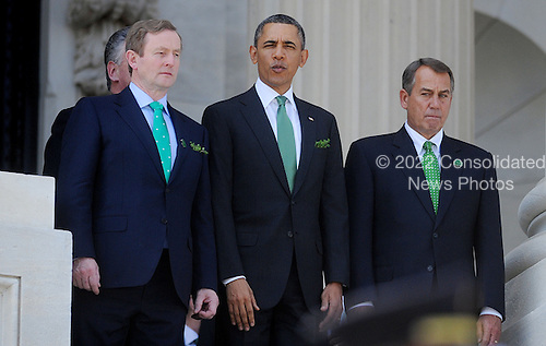 Prime Minister (Taoiseach) Enda Kenny of Ireland, United States President Barack Obama, and Speaker of the U.S. House John Boehner (Republican of Ohio) depart the U.S. Capitol on the U.S. House steps after the Friends of Ireland Luncheon in the Rayburn Room March 19, 2013 in Washington, DC. <br /> Credit: Olivier Douliery / Pool via CNP