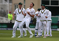 South Africa's Morne Morkel celebrates taking the wicket of England's Joe Root <br /> <br /> Photographer Stephen White/CameraSport<br /> <br /> Investec Test Series 2017 - Second Test - England v South Africa - Day 2 - Saturday 15th July 2017 - Trent Bridge - Nottingham<br /> <br /> World Copyright &copy; 2017 CameraSport. All rights reserved. 43 Linden Ave. Countesthorpe. Leicester. England. LE8 5PG - Tel: +44 (0) 116 277 4147 - admin@camerasport.com - www.camerasport.com