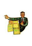 Illustration of salesman with discount and sale boards over white background