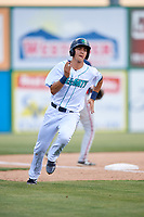 Lynchburg Hillcats shortstop Luke Wakamatsu (12) runs the bases during the first game of a doubleheader against the Potomac Nationals on June 9, 2018 at Calvin Falwell Field in Lynchburg, Virginia.  Lynchburg defeated Potomac 5-3.  (Mike Janes/Four Seam Images)