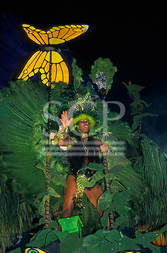 Rio de Janeiro, Brazil. Carnival: Portela samba school float with butterfly and rainforest theme.