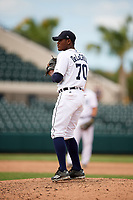 Detroit Tigers pitcher Sandel De La Cruz (70) gets ready to deliver a pitch during an Instructional League game against the Toronto Blue Jays on October 12, 2017 at Joker Marchant Stadium in Lakeland, Florida.  (Mike Janes/Four Seam Images)