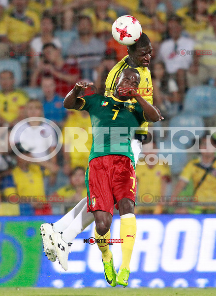 Colombia's Cristian Eduardo Zapata (r) and Cameroon's Nicolas Ngamaleu during international friendly match. June 13,2017.(ALTERPHOTOS/Acero) (NortePhoto.com) (NortePhoto.com)