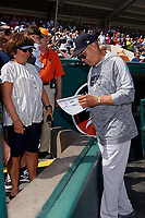 New York Yankees Reggie Jackson signs autographs for fans before a Grapefruit League Spring Training game against the Detroit Tigers on February 27, 2019 at Publix Field at Joker Marchant Stadium in Lakeland, Florida.  Yankees defeated the Tigers 10-4 as the game was called after the sixth inning due to rain.  (Mike Janes/Four Seam Images)