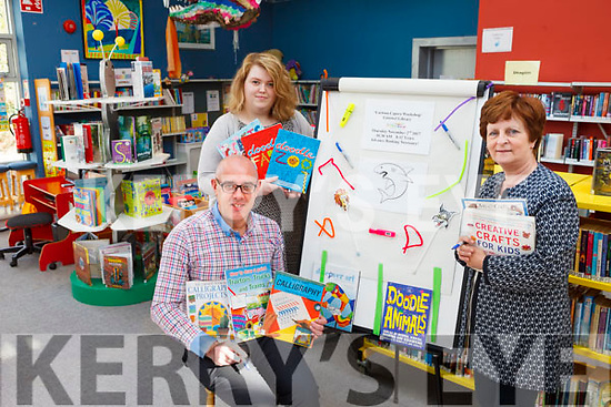 Listowel Library will host a 'Cartoon Capers' workshop as part of the annual Children's Book Festival which runs in October. Pictured were: Barthy Flynn, Caroline Larkin and Mary B Quirke all staff at Listowel Library.