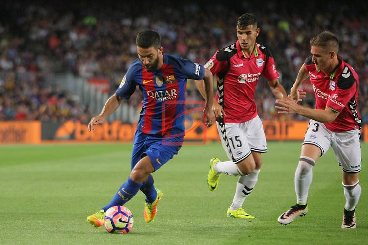 League Santander 2016/2017. Game: 3.<br /> FC Barcelona vs Deportivo Alaves: 1-2.<br /> Arda Turan, Theo &amp; Raul.
