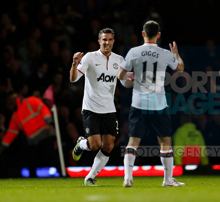 Manchester United's Robin Van Persie celebrates scoring his sides second goal..West Ham v Manchester United - Barclays Premier League - Upton Park, London- 17/04/13 - Picture David Klein/Sportimage