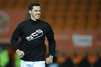 Blackpool's Ben Heneghan during the pre-match warm-up <br /> <br /> Photographer Kevin Barnes/CameraSport<br /> <br /> The EFL Sky Bet League One - Blackpool v Gillingham - Tuesday 11th February 2020 - Bloomfield Road - Blackpool<br /> <br /> World Copyright © 2020 CameraSport. All rights reserved. 43 Linden Ave. Countesthorpe. Leicester. England. LE8 5PG - Tel: +44 (0) 116 277 4147 - admin@camerasport.com - www.camerasport.com