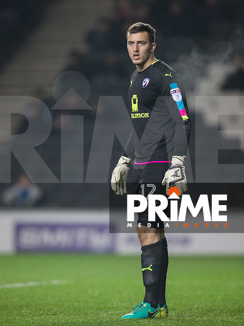 Goalkeeper Ryan Fulton of Chesterfield during the Sky Bet League 1 match between MK Dons and Chesterfield at stadium:mk, Milton Keynes, England on 22 November 2016. Photo by Andy Rowland.