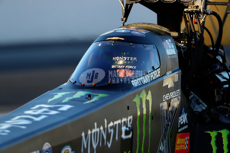 Nov 11, 2017; Pomona, CA, USA; NHRA top fuel driver Brittany Force during qualifying for the Auto Club Finals at Auto Club Raceway at Pomona. Mandatory Credit: Mark J. Rebilas-USA TODAY Sports