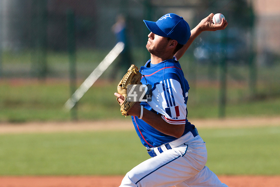 20 August 2010: Closer Joris Navarro of Team France pitches against Italy during France 6-5 win over Italy, at the 2010 European Championship, under 21, in Brno, Czech Republic.