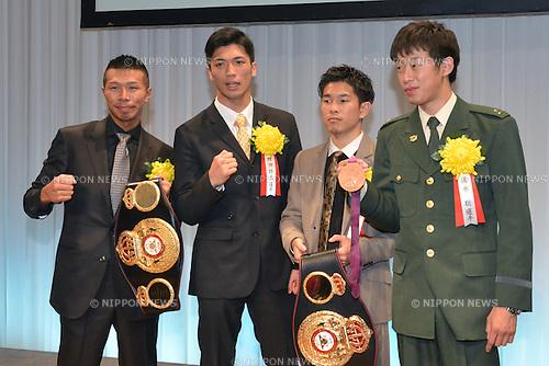 (L-R) Takashi Uchiyama, Ryota Murata, Kazuto Ioka, Satoshi Shimizu,.JANUARY 25, 2013 - Boxing :.Japan's Boxer of the Year Award 2012 at Tokyo Dome Hotel in Tokyo, Japan. (Photo by Hiroaki Yamaguchi/AFLO)