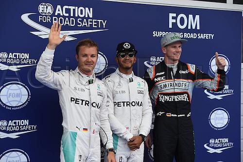 02.07.2016. Red Bull Circuit, Spielberg, Austria. F1 Grand pix of Austria. Qualifying sessions.  Nico Rosberg; Lewis Hamilton; Mercedes Grand Prix, Niko Huelkenberg, Sahara Force India F1,  on pole, but Rosberg droppped 5 places due to earlier crash