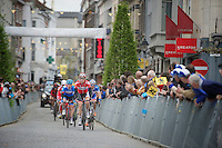 Stig Broeckx (BEL/Lotto-Belisol) leading the breakaway group for a first flyby through the streets of the city of Oudenaarde<br /> <br /> Ronde van Vlaanderen 2014