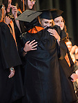 TERRYVILLE, CT- 8 June 2016-060816EC12-  Haley Grey gets a hug after an emotional performance in the choir during Terryville High School's graduation Wednesday night. Erin Covey Republican-American