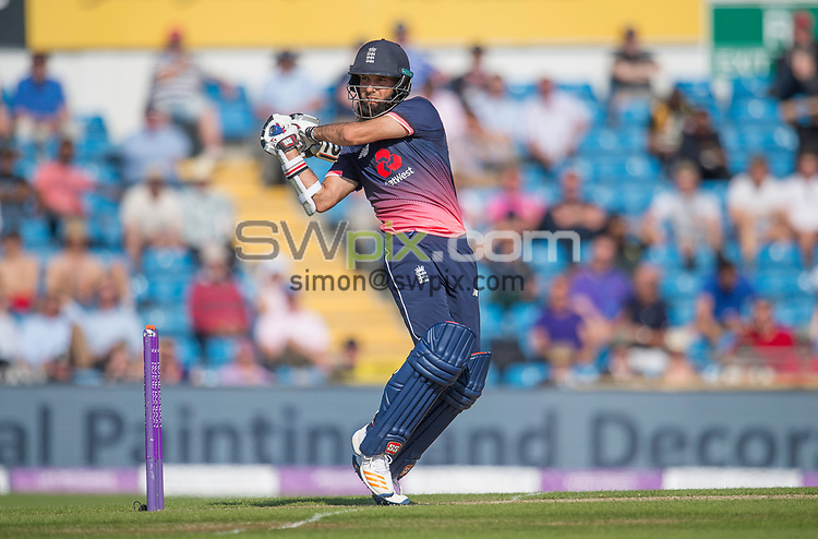Picture by Allan McKenzie/SWpix.com - 24/05/2017 - Cricket - Royal London One-Day International - England v South Africa - Headingley Cricket Ground, Leeds, England - England's Moin Ali hits out against South Africa.