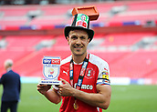 27th May 2018, Wembley Stadium, London, England;  EFL League 1 football, playoff final, Rotherham United versus Shrewsbury Town; Richard Wood of Rotherham United poses with the Sky Bet Play Offs Man of the Match trophy