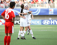 Santiago, Chile: American's player Alex Morgan (R) celebrate a goal against Korea DRP's  team during the finals match, of the Fifa U-20 Womens World Cup the at Florida´s Municipal Stadium, on December 07 th, 2008. By Grosnia / ISIphotos.com.