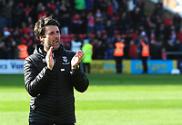 Lincoln City manager Danny Cowley applauds the fans at the final whistle<br /> <br /> Photographer Andrew Vaughan/CameraSport<br /> <br /> The EFL Sky Bet League Two - Lincoln City v Cheltenham Town - Saturday 13th April 2019 - Sincil Bank - Lincoln<br /> <br /> World Copyright &copy; 2019 CameraSport. All rights reserved. 43 Linden Ave. Countesthorpe. Leicester. England. LE8 5PG - Tel: +44 (0) 116 277 4147 - admin@camerasport.com - www.camerasport.com