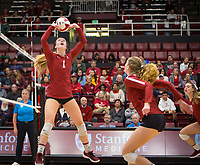 Stanford, CA - October 18, 2019: Jenna Gray at Maples Pavilion. The No. 2 Stanford Cardinal swept the Colorado Buffaloes 3-0.