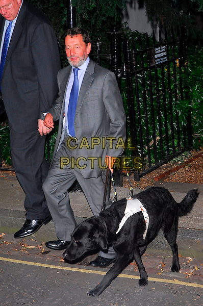 DAVID BLUNKETT.Sir David Frost Summer Party, Carlyle Square, London, UK..July 5th, 2006.Ref: CAN.full length grey gray suit seeing eye dog animal blind.www.capitalpictures.com.sales@capitalpictures.com.©Capital Pictures