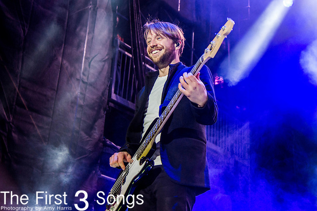 Ben McKee of Imagine Dragons performs at White River State Park in Indianapolis, Indiana.