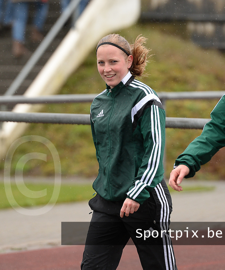 20150404 - FORST , GERMANY  : Norwegian assistant referee Linda Andresen pictured during the soccer match between Women Under 19 teams of Belgium and Ukraine , on the first matchday in group 5 of the UEFA Elite Round Women Under 19 at WaldseeStadion , Forst , Germany . Saturday 4th April 2015 . PHOTO DAVID CATRY