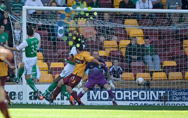 John Sutton(11) scores the opening goal for Well during The Clydesdale Bank Premier League match between Motherwell and Hibernian at Fir Park 15/08/10..Picture by Ricky Rae/universal News & Sport (Scotland).