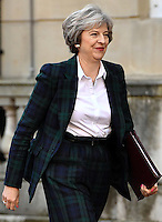 17 January 2017 - London, England - Theresa May arrives to deliver a key Brexit speech at Lancaster House, London about Britain and the EU. The widely leaked speech set out the Prime Minister's intention to prioritise control on immigration and an exit from the Court of Justice of the European Union. Photo Credit: ALPR/AdMedia