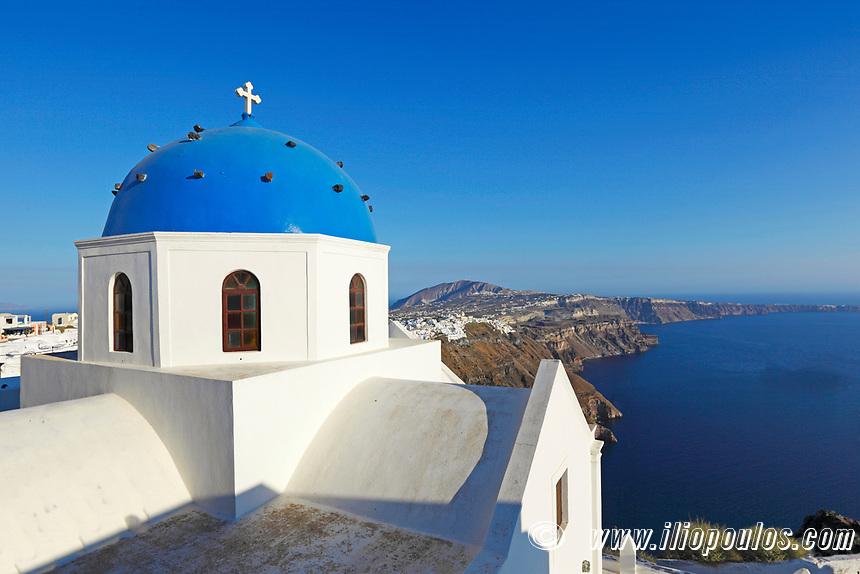 The central church of Imerovigli in Santorini, Greece