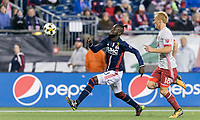 Foxborough, Massachusetts - September 30, 2017: In a Major League Soccer (MLS) match, New England Revolution (blue/white) tied Atlanta United FC (gray/red), 0-0, at Gillette Stadium.