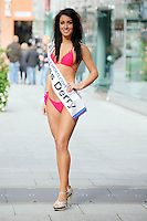 17/9/2010. Miss Ireland contestants. Miss Derry Lisa McDavitt is pictured at St Stephens Green. the 35 Miss Ireland contestants officially unveiled in their swimwear and sashes for the 1st time at Stephen's Green Shopping Centre,  Dublin. Picture James Horan/Collins Photos