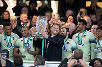 Dylan Hartley of England lifts the Cook Cup in celebration. Old Mutual Wealth Series International match between England and Australia on November 18, 2017 at Twickenham Stadium in London, England. Photo by: Patrick Khachfe / Onside Images