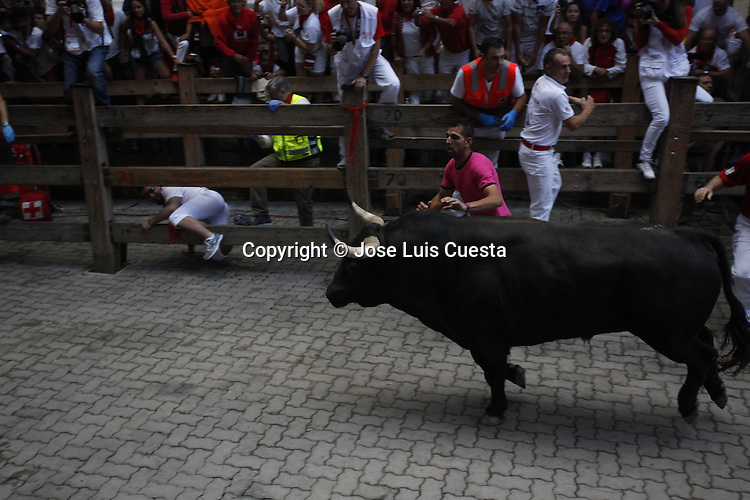 Seventh day of bull run in Pamplona, northern of Spain.  San Fermin festival is worldwide known because the daily running bulls.
