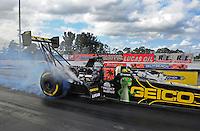 Jan. 17, 2012; Jupiter, FL, USA: NHRA top fuel dragster driver Morgan Lucas during testing at the PRO Winter Warmup at Palm Beach International Raceway. Mandatory Credit: Mark J. Rebilas-
