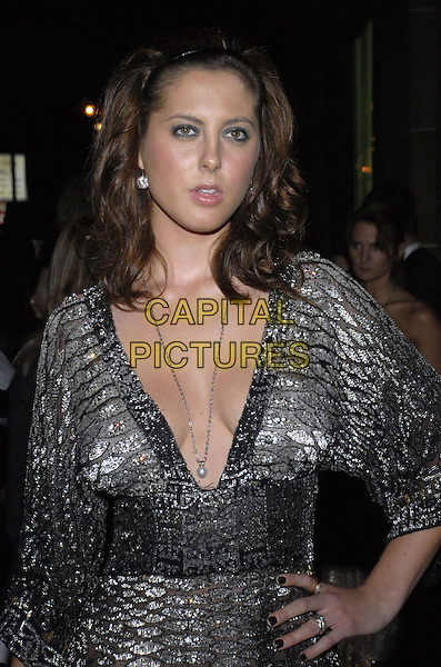 EVA AMURRI.Roberto Cavalli Vodka and Giuseppe Cipriani Halloween party at Cirpiani 42nd Street to benefit Children in Crisis and The Happy Hearts Fund, New York, New York, USA..October 31st 2007.half length silver low cut neckline hand on hip necklace .CAP/ADM/BL.©Bill Lyons/AdMedia/Capital Pictures. *** Local Caption ***