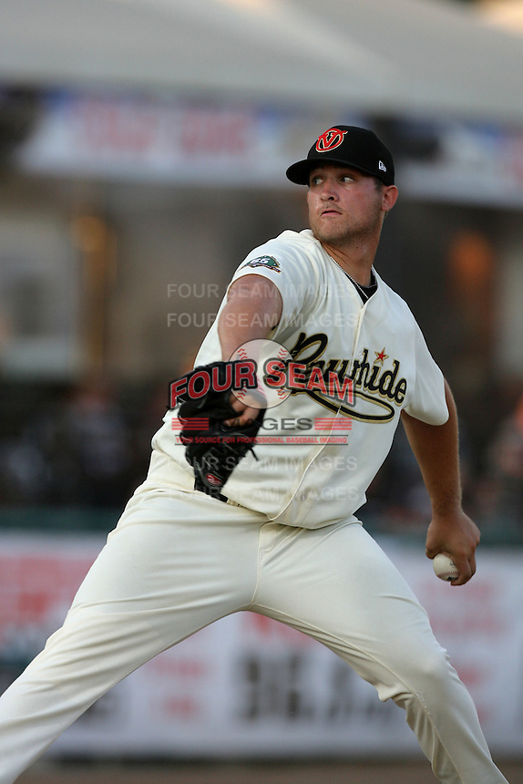 Visalia Rawhide pitcher Mike Belfiore #37 pitches against the Stockton Ports at Recreation Park on July 30, 2011 in Visalia,California. Visalia defeated Stockton 11-2.(Larry Goren/Four Seam Images)