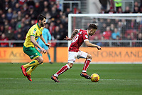 Jamie Paterson of Bristol City under pressure from Nelson Oliveira of Norwich City during Bristol City vs Norwich City, Sky Bet EFL Championship Football at Ashton Gate on 13th January 2018