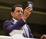 ELMONT, NY - JUNE 09: Triple Crown Winning Jockey Victor Espinoza records a race on Belmont Stakes Day at Belmont Park on June 9, 2018 in Elmont, New York. (Photo by Sue Kawczynski/Eclipse Sportswire/Getty Images)