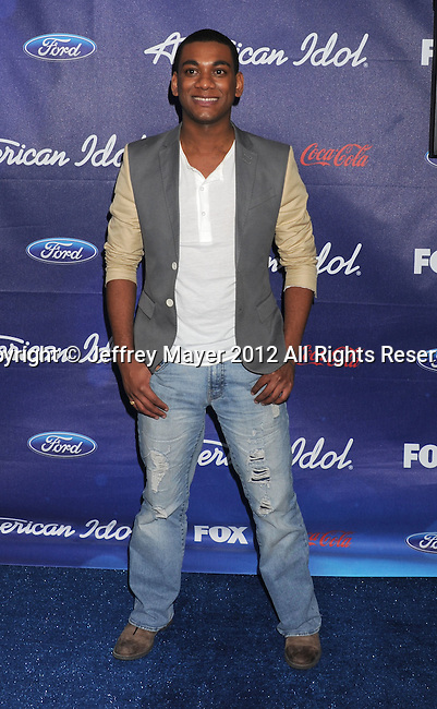LOS ANGELES, CA - MARCH 01: Joshua Ledet arrives at the American Idol Finalists party at The Grove Parking Structure Rooftop on March 1, 2012 in Los Angeles, California.