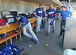 Los Angeles Dodgers&rsquo; Andre Ethier heads into the dugout after fouling a ball off his leg in a spring training game in Scottsdale, Ariz., on Friday, March 18, 2016. <br />Photo by Cathleen Allison