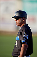 Missoula Osprey coach Mike Benjamin (4) during the game against the Ogden Raptors at Lindquist Field on August 12, 2019 in Ogden, Utah. The Raptors defeated the Osprey 4-3. (Stephen Smith/Four Seam Images)
