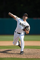 Army Black Knights relief pitcher Carter Van Gytenbeek (24) in action against the North Carolina State Wolfpack at Doak Field at Dail Park on June 3, 2018 in Raleigh, North Carolina. The Wolfpack defeated the Black Knights 11-1. (Brian Westerholt/Four Seam Images)